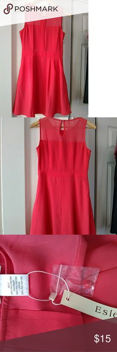 Esley Pink Dress S Pink (deep coral) dress with size zipper, back keyhole & button, with two pockets. Sheer on top. Tag is still on. Polyester - hand wash cold. Esley Dresses Midi