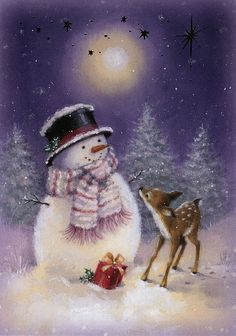 A Deer Present For Santa! Vintage Christmas Cards, Christmas Pictures, Christmas Snowman, Christmas Crafts, Christmas Decorations, Merry Christmas, Xmas, Snowmen Paintings, Christmas Paintings