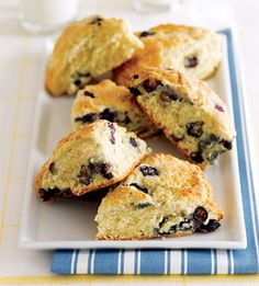 When you have overnight guests, treat them to a basket of warm lemony scones dotted with blueberries. They're easy to make for an early breakfast and taste great with coffee or tea.