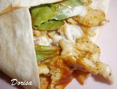 Csirkés-zöldséges tortilla tekercs | TopReceptek.hu Tortillas, Baked Potato, Risotto, Hamburger, Tacos, Pizza, Food And Drink, Mexican, Ethnic Recipes