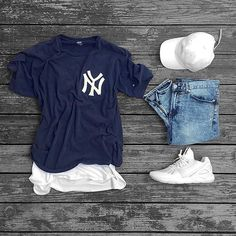 Camiseta New York Azul Jeans  Boné e Tênis Off-White