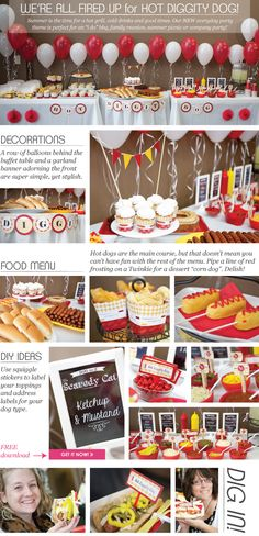 Hot Diggity Dog! This hot dog buffet party looks amazing and delicious. #hotdogbuffet #hotdogparty #freeprintable