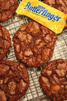 Butterfinger Brownie Cookies recipe : great recipe for using up leftover Halloween candy!
