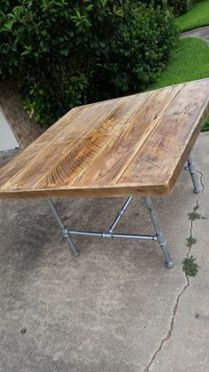 Industrial Pipe Leg  & barnwood Dining Table by Lapalletcreations, $600.00