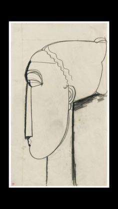 """Amedeo Modigliani - """" Tête de profil gauche au chignon """", 1914 - Pencil on paper - 42,6 x 26,5 cm"""