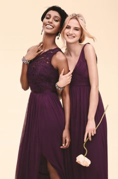 Perfectly plum bridesmaid dresses at @DavidsBridal
