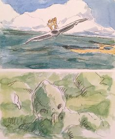 Images Drawn for the Nausicaa Motion Picture ===== Released in March of 1984 - image boards, tapestries drawn for the opening, etc ===== Notes: The following are images of the opening scene, with Nausicaa sliding through the air on her mehve.