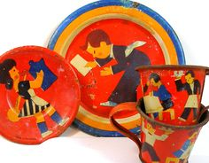 RARE 30s Tin Toy Tea Set Art Deco German by OldeTymeNotions,l