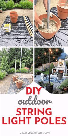 Poles For Outdoor Lights, Outdoor Fun, Outdoor Lighting, Garden Lighting Diy, Lights For Backyard, Diy Planters Outdoor, Fun Backyard, Outdoor Patios, Backyard Lighting