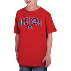 Ncaa Ole Miss Rebels Boys Classic Cotton T-Shirt, Size: XL, Red