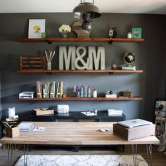 Install these DIY industrial inspired wood shelves in your home office for a functional and rustic look.