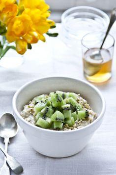 rolled oats and fresh kiwi.