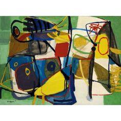 ptk:  Karel Appel (Dutch, 1921-2006). Deux Oiseaux Sur Fond de Fleurs. Oil on canvas. Signed and dated LL.