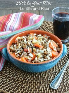Stick to Your Ribs Lentils and Rice. Easy to make and full of a variety of vegetables that everyone loves. Satisfying and flavorful for the whole family.