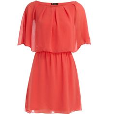 Coral cape sleeve dress-super cute and would look awesome with lia sophia's talisman necklace, rue bracelets, Bombay ring and Capri earrings!
