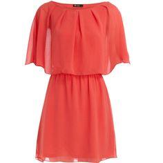 Coral cape sleeve dress ($22) ❤ liked on Polyvore featuring dresses, vestidos, vestiti, haljine, party dresses, women's dresses & skirts, coral dress, coral red dress, red dress and sleeved dresses