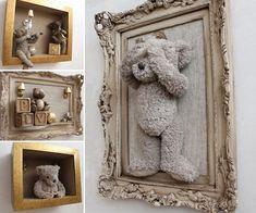 Love the idea of framing teddy bears for the nursery