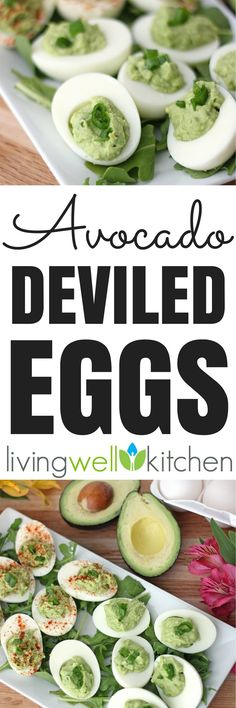 Avocado Deviled Eggs from Meme // Living Well Kitchen are the quintessential Easter appetizer made using avocados instead of mayo. Creamy, a little spicy, and delicious! Dairy and gluten free recipe perfect for snacks or for serving a crowd