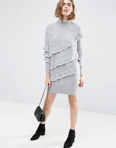 Find the best selection of ASOS Sweater Dress with Ruffles. Shop today with free delivery and returns (Ts&Cs apply) with ASOS! Grey Sweater Dress, Jumper Dress, Knit Dress, Women's Fashion Dresses, Casual Dresses, Pullover Mode, Sweat Dress, Moda Chic, Spandex Dress