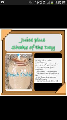 Peach Coble juice plus complete recipe !!!!! An absolute must try! For more information or to order please contact me www.venusoren.juiceplus.com