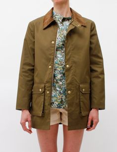 military jacket · liberty blouse · shorts