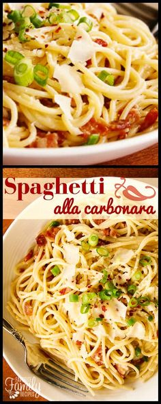 This Spaghetti alla Carbonara is a simple, traditional Italian recipe. With bacon, garlic, and fresh Parmesan cheese, it is full of flavor!