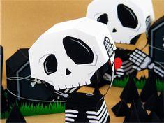 Toujours pour Halloween, voici l'une des dernières créations de l'artiste indonésien Salazad. De la noirceur, de l'humour et du graphisme pour ce magnifique squelette en papier. En bonus, les pierres tombales pour réaliser un décor complet ! A télécharger d'urgence…