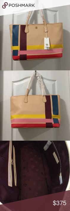 BNWT Tory Burch Multi Color Blake Tote BNWT. Authentic. Beautiful tote. Never worn. Authentic and purchased from Tory Burch Tory Burch Bags Totes