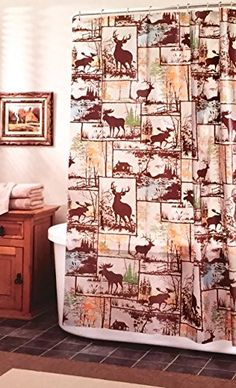 Deer Moose Adirondack Lodge Peva Vinyl Shower Curtain -- Want to know more, click on the image.
