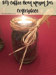 DIY Coffee Bean Mason Jar Centerpiece is an easy crafts idea for a gift or decor!