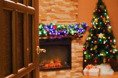 Christmas Backdrops Photography Warm Candle Wood by katehome2014