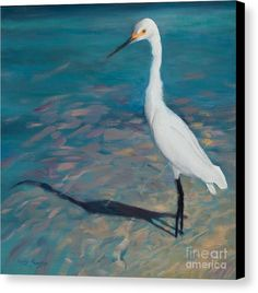 White Egret Standing In Bluegreen Water Canvas Print featuring the painting Life Is Good By Marilyn Nolan- Johnson by Marilyn Nolan-Johnson