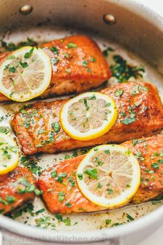 A simple, elegant Pan Seared Salmon recipe in a lemon browned butter sauce. Searing the salmon results in a flaky, juicy salmon filet. Master this easy (10 minute) method for how to cook salmon in a pan and learn how to make brown butter. | natashaskitchen.com Cook Salmon On Stove, Pan Cooked Salmon, Salmon Recipe Pan, Cooking Salmon Fillet, Pan Fried Salmon, Pan Seared Salmon, Salmon In A Skillet, Simple Salmon Recipe, Gluten Free Recipes