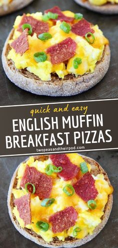 English Muffin Breakfast Pizzas are perfect for back to school time! This breakfast idea is quick and easy to make, thanks to store-bought English muffins for the crust. Not only can this recipe be enjoyed in the morning, but kids will also love this as a snack! Easy Breakfast Muffins, English Muffin Breakfast, Breakfast Pizza, Savory Breakfast, Sweet Breakfast, English Muffins, Breakfast Ideas, Breakfast Sandwiches, Breakfast Bowls