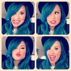 Blue hair! I would totally try this. I feel like I want to see how I would look with different colours. Demi looks great with blue hair btw