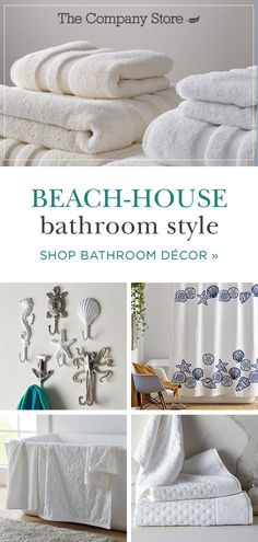 Bring beach vibes indoors with plush towels and whimsical accessories. No matter what theme you envision, The Company Store has the bath linens and accessories to bring your look to life. Shop today and up the luxury factor in your home. Beach House Bathroom, Beach Bathrooms, Beach House Decor, The Company Store, Interior Paint Colors, Interior Design, Nautical Bathrooms, Coastal Decor, Bath Linens
