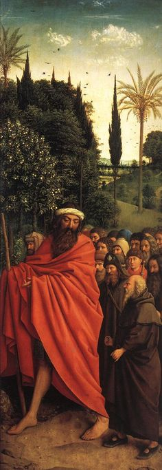 JAN VAN EYCK (1395-1441) - The Ghent Altarpiece - The Holy Pilgrims - 1432. Sint-Baafskathedraal (Cathedral of St Bavo), Gent, Belgium.