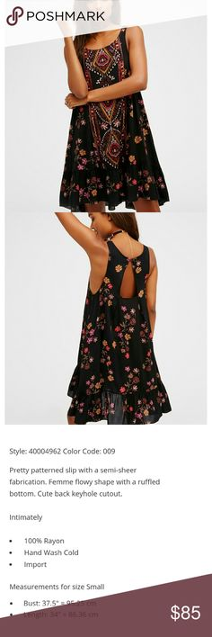 NWT Free People Annka Border Slip New with tag Free People beautifully patterned flowy dress. This super cute slip has a scoop neck and ruffled bottom, covered in a super cute boho print with flowers. Perfect for all seasons, pairs great with tights and a cardigan for winter or sandals and cute bag for summer. Size small. Additional details included in last photo. Free People Dresses