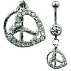 Heart & Peace Sign Dangle Belly Ring Surgical Steel
