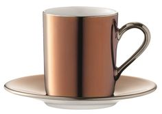 LSA Remi Copper Coffee Cup and Saucer Set, Amara