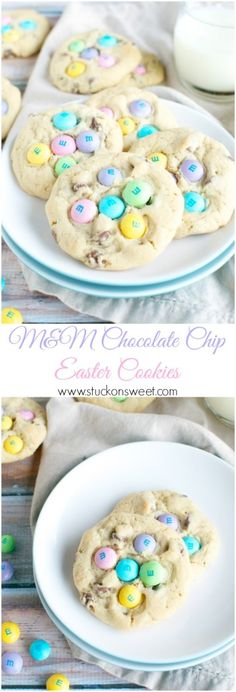 M&M Chocolate Chip Easter Cookies Recipe Easter Cookies, Holiday Cookies, Holiday Treats, Holiday Recipes, Holiday Foods, Spring Recipes, Easter Snacks, Easter Recipes, Easter Ideas