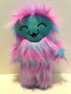 Kawaii+blinking+plush+monster+/+purple+and+by+WithoutDirections