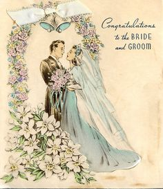 Vintage Wedding Card Ca Late 1930s