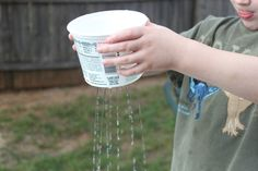 Preschool Water Play Activities. Love the use of re-used plastic containers in the water trough