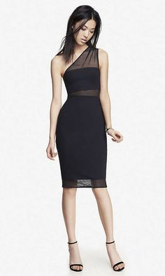 ONE SHOULDER MESH INSET SHEATH DRESS... Holiday Party!!!