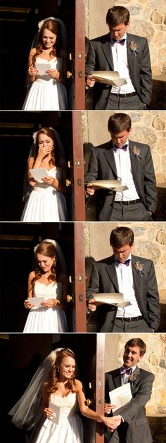 Reading a letter from each other before wedding.