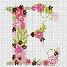 The Letter E Flowering (Large) Needlepoint Kit Pepita