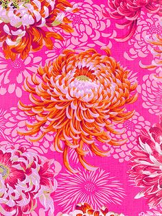 'Floating Mums' from the Fall 2012 collection by Phillip Jacobs for Rowan Fabrics - bright pink floral flower pattern textiles Deco Floral, Motif Floral, Floral Prints, Pretty Patterns, Beautiful Patterns, Color Patterns, Floral Patterns, Motifs Textiles, Textile Patterns