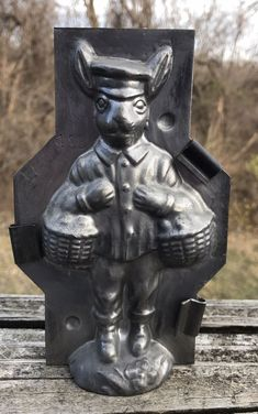 Rare Antique chocolate candy mold rabbit postman with baskets of eggs easter