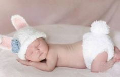 Newborn baby girl Crochet white bunny rabbit Outfit by Sharonplus, $19.95